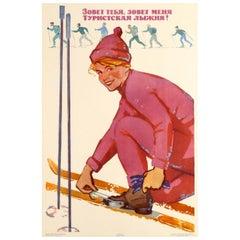 Original Vintage Soviet Winter Sport Skiing Poster - The Ski Track is Calling!