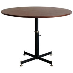 Vittorio Nobili Italian Mid-Century Modern Teak Metal Round Dining Table, 1950s