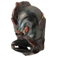 Japanese Carved Wood Mask of Tengu