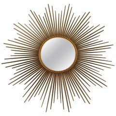 French Gold Sunburst Mirror by Chaty Vallauris, 1950s