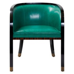Macassar Ebony Black Lacquer and Bronze Trim Dining or Occasional Chair