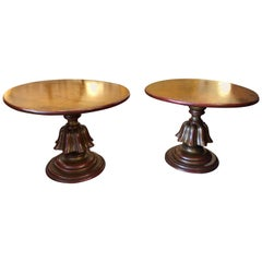 Stylish Pair of Warmly Gilded Round End Tables