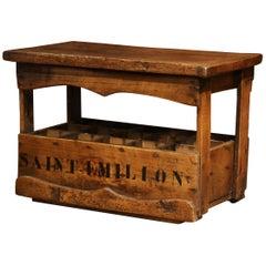 "Old French Pine 15 Wine Bottle Storage Cabinet with ""Saint Emilion"" Inscription"