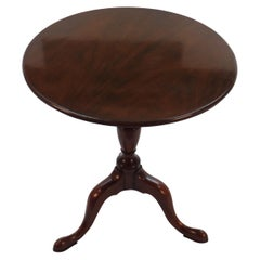 English Mahogany Small Round Tilt-Top Tripod Side Accent Table