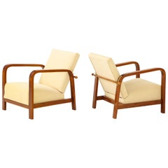 Pair of Italian 1930s Palisander Wood Adjustable Armchairs