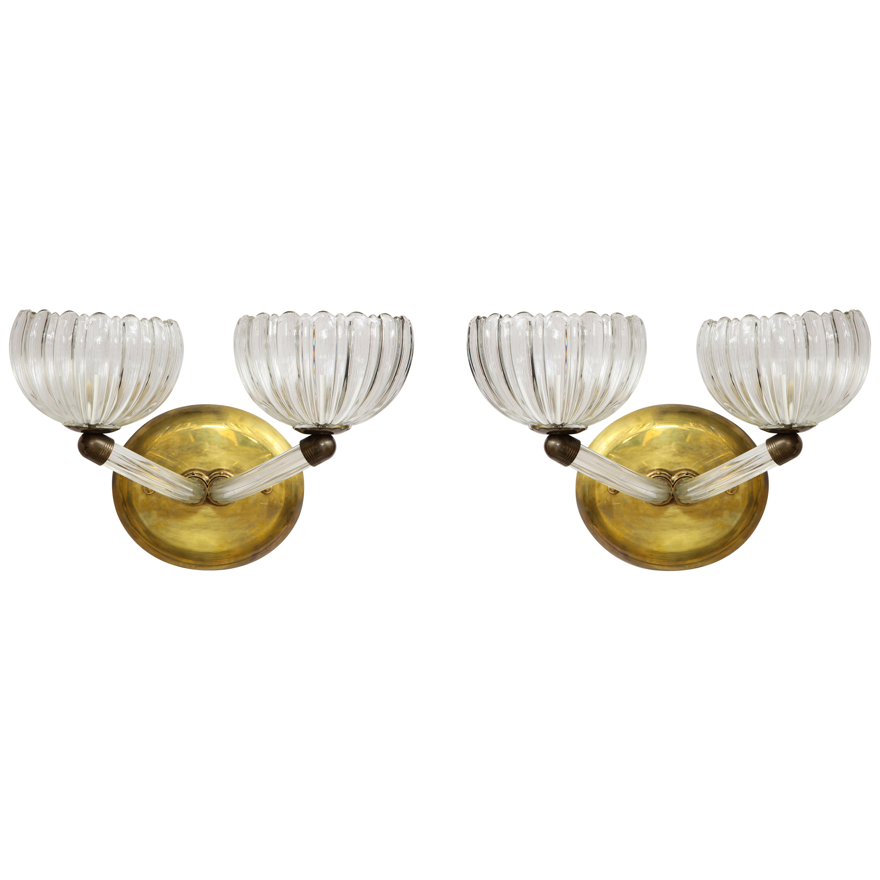 Pair of Italian Murano Glass and Brass Wall Sconces