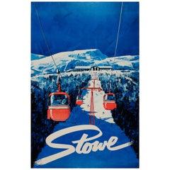 Original Vintage Skiing Poster Stowe Alpine Ski Resort Vermont Cable Car Ski Run