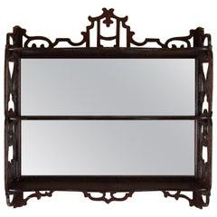 Vintage Mirrored Display Shelves, Mahogany Finish