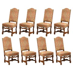 Mid-20th Century Set of Eight French Louis XIII Carved Sheep Bone Dining Chairs