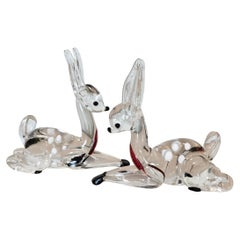 Pair of Murano Deer Sculptures Attributed to Ferro Toso Barovier