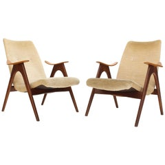 Pair of Danish Mid-Century Modern Compas Sculptured Teak Legs Lounge Chairs