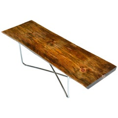 Spalted Pine Coffee Table Bench, Rustic Live Edge