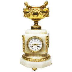 Fine French 19th Century Onyx & Ormolu Mounted Putti Mantel Clock, Delafontaine