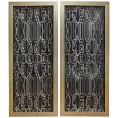 Pair of Vintage 1940s Lucite Dimensional Sculptural Panels Custom Framed