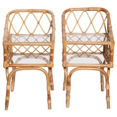 Diminutive Pair of 1950s Italian Bamboo Side Tables or Night Stands