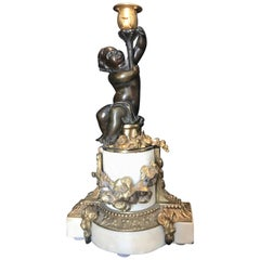 Louis XVI Style Putto Ormolu Patinated Bronze and Marble Candlestick