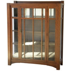 Arts & Crafts Mission Oak China Cabinet Bookcase with Glass Doors