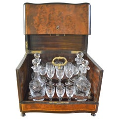 19th Century Portable Bar in a Burled Rosewood Box with Original Crystal Ware