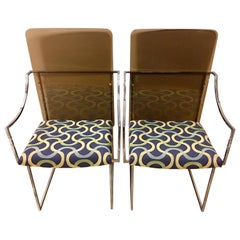Mid Century Milo Baughman for Thayer Coggin J-2540 Lucite and Chrome Chairs