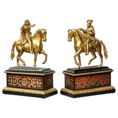 Pair of French Gilt Bronze Horse Riders on Ebony Boulle Bases