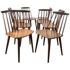 Set of 8 Stick Chairs Denmark, Mobler J77, Folke Palsson for FDB Mobler