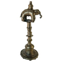 Vintage Bronze Oil Lamp with Elephant Motif, Rural Nepal, Mid-Late 20th Century