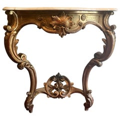 French Louis XV Style Carved and Gilded Marble-Top Console