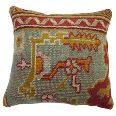 Green Antique Oushak Rug Pillow