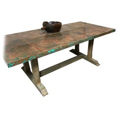 "Custom Designed Copper Dining Table, Top Paneled in Copper with a ""Verdigris"""