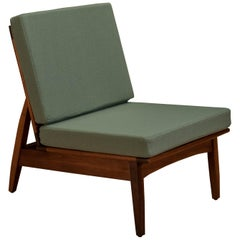 Mid Century Walnut Slipper Lounge Chair