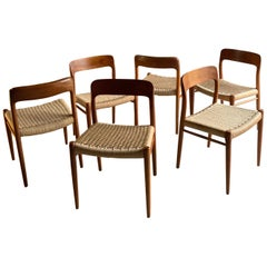 Niels Otto Møller Dining Chairs Set of Six Model 75 JL Møller Møbelfabrik Danish