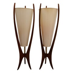 Sculpted Walnut Lamps a Pair