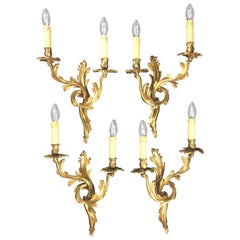 Set of 4 French 19th Century Gilded Bronze Double Arm Wall Sconces