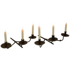 Pair of French, 18th Century Hand Forged Iron Wall Candleholders