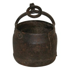Primitive 18th Century Hand-Forged Iron Cooking Pot