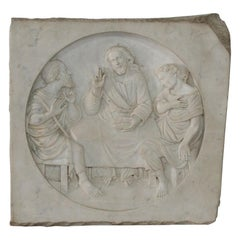 Italian 19th Century White Marble Classical Panel of Christ