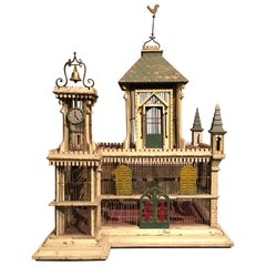 Early 20th Century French Birdcage in Painted Wood and Metal in Form of a Castle