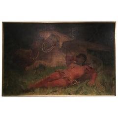 "Italian Oil on Canvas Painting Depicting ""Theatrical Scene"" by Ernesto Bellandi"