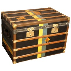 1920s Black Moynat Steamer Trunk