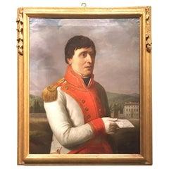 """Early 19th Century Italian Oil on Canvas Painting """"Portrait of Luigi Gherardi"""""""