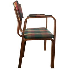 Classic Bentwood Armchair with Original Plaid Oil Cloth by Thonet Brothers 1940