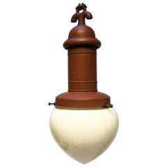 Rare Street or Factory Pendant Lamp Opaline Glass from the 1900s