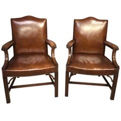 Fine Quality Pair of Mahogany Gainsborough Armchairs