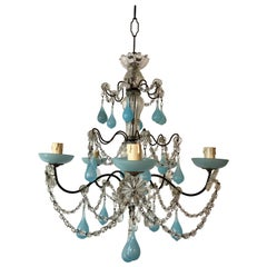 French Aqua Blue Opaline Murano Drops and Bobeches Chandelier