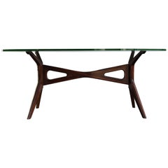 Carlo Mollino Style Italian Glass and Solid Walnut Dining Table, 1950s