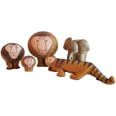 Lisa Larson Gustavsberg Stoneware Group of Animals - 3 Lions, Tiger and Elephant