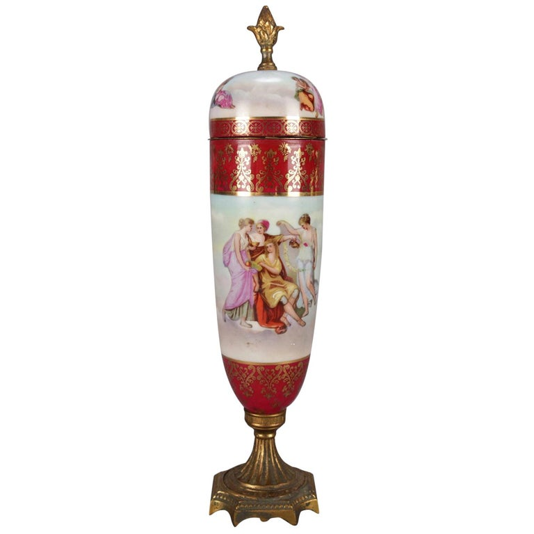 Antique Austrian Royal Vienna Classical Hand Painted and Gilt Porcelain Urn For Sale