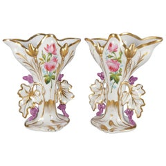 Pair of French Hand Painted and Gilt Porcelain Old Paris Spill Vases, circa 1880