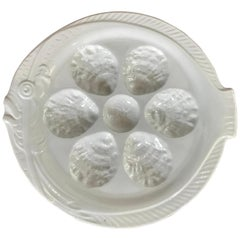 French Faience Oyster Plates of Koi Fish Form, Set of 10