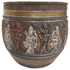 Large Asian Brass, Copper, Silver Inlaid Ceremonial Bowl with Avatars of Vishnu